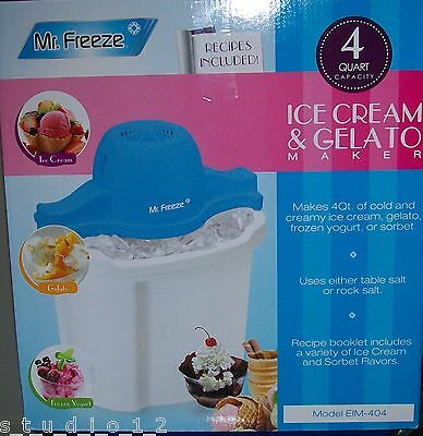 Mr Freeze 4 Qt Ice Cream Gelato Maker Recipes Included Fast Free Shipping! New