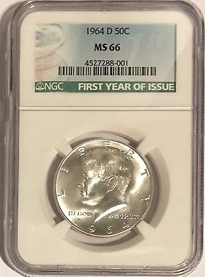 1964 D Ngc Ms66 Silver Kennedy Half Dollar First Year Issue Label 90% Jfk Coin