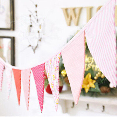 2.7m Vintage Floral Fabric Flag Bunting Garland Shabby Chic Tea Party Banner