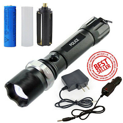 New Tactical Police Heavy Duty 5W Rechargeable Zoomable Flashlight Torch+Charger
