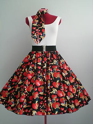 "ROCK N ROLL/ROCKABILLY ""Pin-up Girls"" SKIRT-SCARF M-L Black/Red."