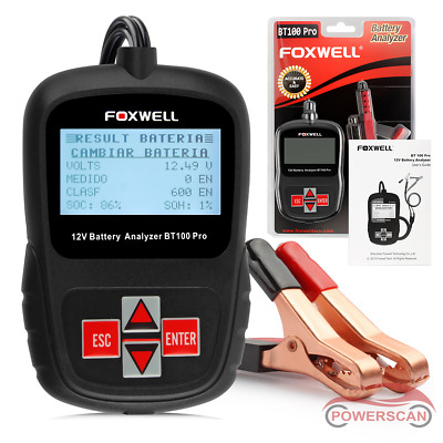 Foxwell BT100 Pro 12V Car Battery Tester Analyzer 1100CCA for Flooded AGM GEL