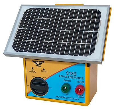 Thunderbird S18B Solar Energiser - Electric Fence Charger Polywire
