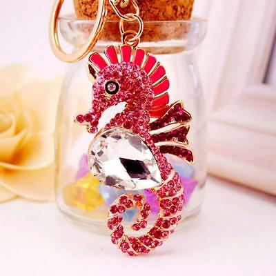 Sparkly Sea Horse Pendant Key Chain Ring w/ Lobster Clasp Collectable Pink
