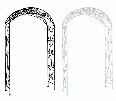 Charles Bentley Wrought Iron Flower Garden Arch Outdoor Archway - 2 Colours