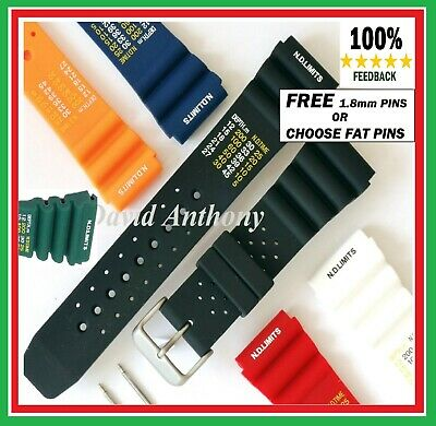 20mm 22mm 24mm ND TIME N. D. LIMITS DIVERS WATCH STRAP POLY PU RUBBER 5 COLOURS