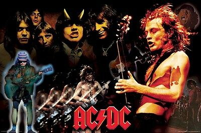 AC/DC ~ ANGUS YOUNG MONTAGE 24x36 POSTER AC-DC AC DC Music NEW/ROLLED!