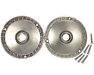 3 inch egg & dart Retrofit Rosettes- For Old Knobs-in any Doors-Brushed Nickel