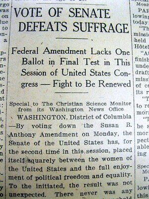 2 1919 newspapers US SENATE rejects WOMENS SUFFRAGE Amendment goes downTo DEFEAT
