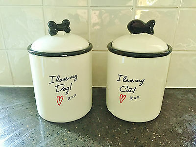 I Love My Dog Cat Ceramic Pet Snack Treats Jar Biscuit Storage Jars