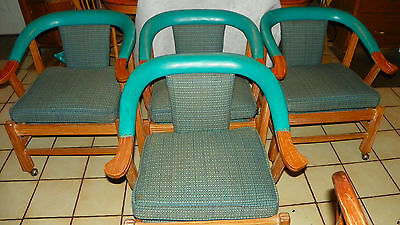 Set of 4 Ranch Oak Horseshoe Armchairs / Game Chairs  (DC45)