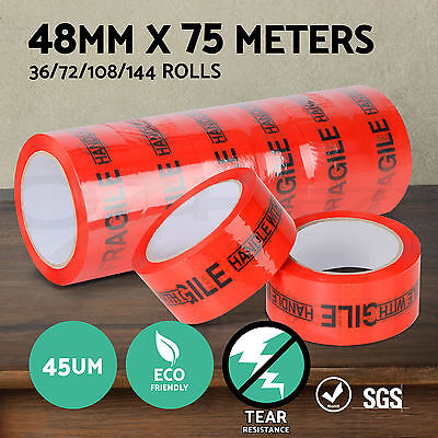 36/72/108/144 Rolls FRAGILE Packing Tape Red Orange Sticky Box Carton Storage