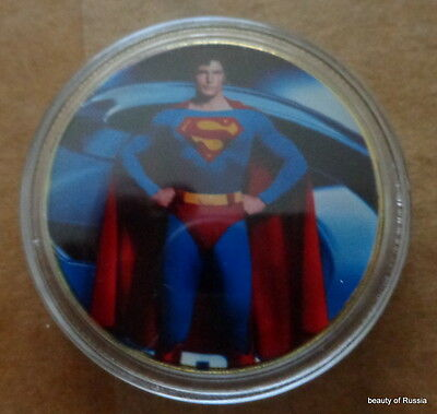 Superman  memorabilia    24K GOLD  PLATED 40 mm   COIN  #3