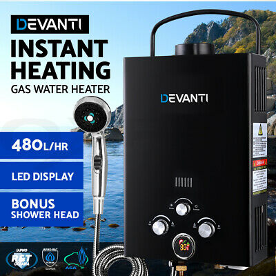 Devanti Portable Gas Water Heater Hot Shower Camping LPG Outdoor Instant 4WD BK