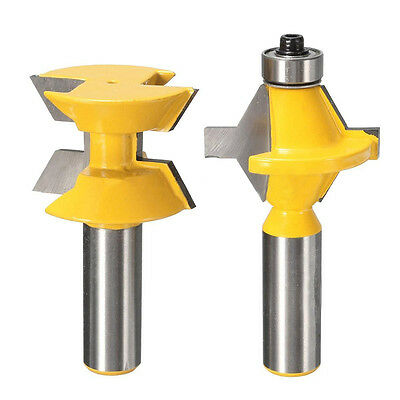 """New 2Pcs 1/2"""" Shank Router Bit Set 120° Woodworking Groove Chisel Cutter Tool"""