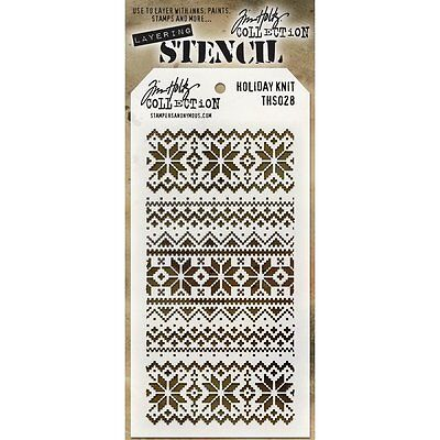 Tim Holtz Layering Stencil Template - Holiday Knit - Knitting, Christmas