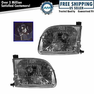 Headlights Headlamps Left & Right Pair Set for 00-04 Toyota Tundra Pickup Truck