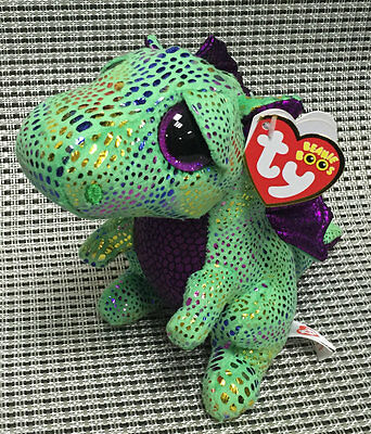 Soft Toy From TY BEANIES BOOS ~Cinder GREEN Dragon 6 inch Stuffed toy