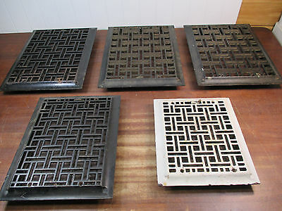 Antique Cast Iron Heating Grate Set 5 Complete Original Geometric Victorian 1885