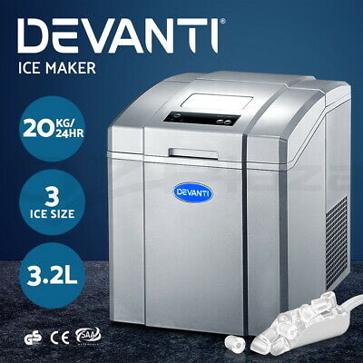 DEVANTI 3.2L Portable Ice Cube Maker Machine Quick Commercial Home Fast Silver