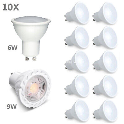 4 /10x GU10 6W 9W Dimmable LED Lamps Spot Integrate Light Day Warm White Bulbs