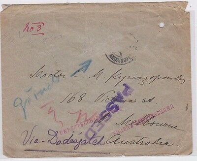 WW1 period cover stamps Turkey Adrianopel Bulgaria to Australia passed censor