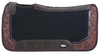 "Western Felt Saddle Pad - Contour Fit - Brown Tooled Leather Print - 31""  x 32"""