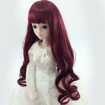 Fashion Wine Red Long Hair Wig for 1/6 BJD SD LUTS Dolls Making & Repair
