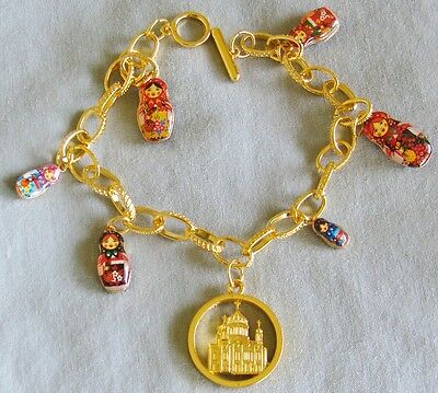 Russian Matryoshka nesting dolls Moscow Cathedral metal gold color Bracelet