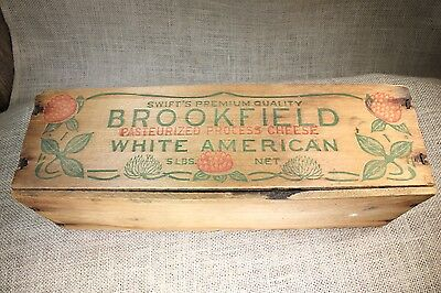 wood cheese box vintage old rustic clover flower White American Brookfield Swift