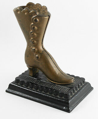 Antique Cast Iron Figural Victorian Ladies Shoe Match Holder