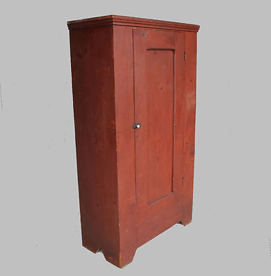 Antique Pine Single Door Wardrobe Armoire – original red