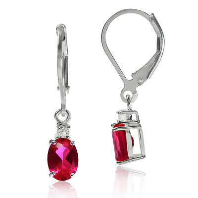 Simulated Ruby & White CZ 925 Sterling Silver Leverback Earrings