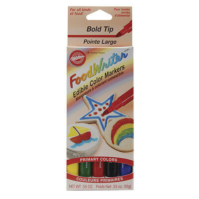 """Food Writer Bold Tip Edible Color Markers .35oz 5/Pkg-Primary, Set Of 3"""