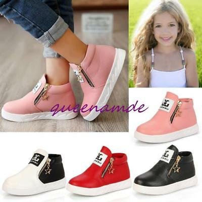 Fashion Kids Girls Sports Casual Leather Soft Sneakers Shoes Zipper Ankle Boot Q