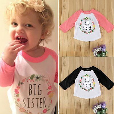 Fashion Toddler Kids Baby Girls Tees Long Sleeve T-shirt Tops Clothes Size 1-4T
