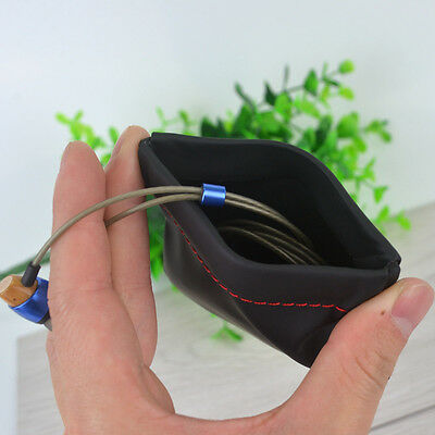 Headphone Bag Black PU Leather Replacement Carrying Pouch Case For Earphone