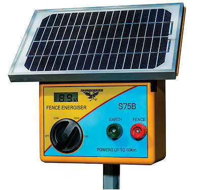 Thunderbird S75B Solar Energiser - Electric Fence Charger Polywire