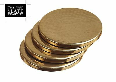Just Slate Set of 4 Round Gold Coasters in Gift Box