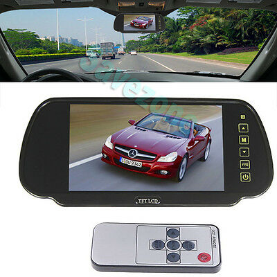"7"" LCD Screen Monitor Mirror For Reversing Camera Rearview Vehicle CAR DVD AV"