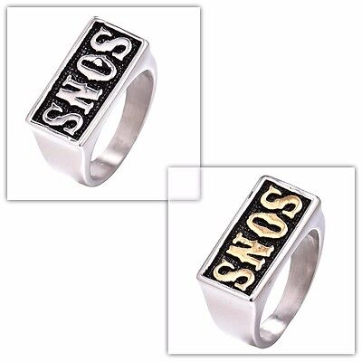 New Fashion Cool Men's Stainless Steel SONS Biker Band Rings Jewelry Size 8-13