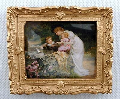 Dolls House Time with Mother Picture Painting Gold Frame Miniature Accessory