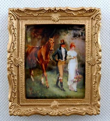 Dolls House Edwardian Romance Picture Painting Gold Frame Miniature Accessory