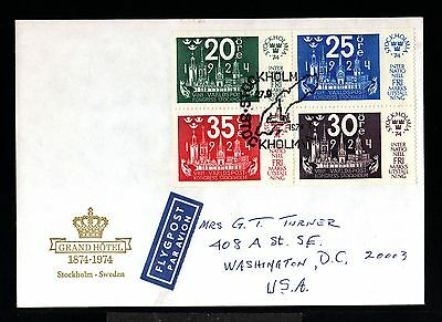 12415-SWEDEN-AIRMAIL FIRST DAY COVER STOCKHOLM.1974.FDC.Primer dia.premier jour.