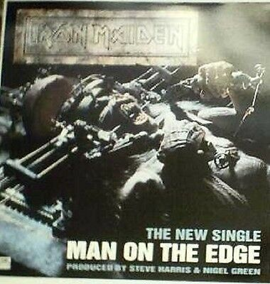 IRON MAIDEN Man On The Edge 2-sided  Promotional Display/ Flat 12x12 inches