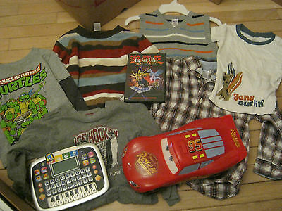 LOT OF boys CLOTHES 5, GYMBOREE, PLUS disney cars, yu-gi-oh and MORE