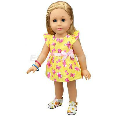 Yellow Floral Dress with Fixed Belt Clothes for 18inch American Girl Dolls