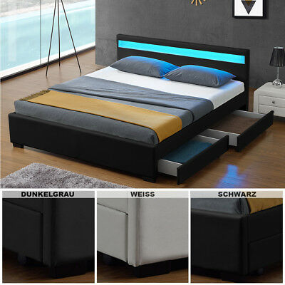 polsterbett mit bettkasten grau lattenrost doppelbett. Black Bedroom Furniture Sets. Home Design Ideas