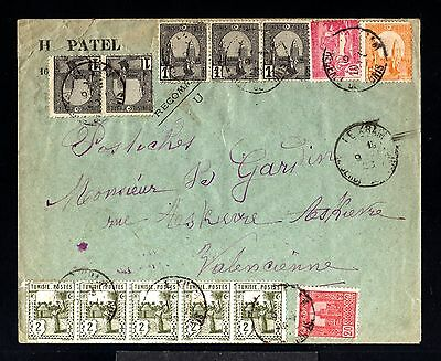12486-TUNISIA-OLD COVER TUNIS Regence to VALENCIENNES (france)1928.French coloni