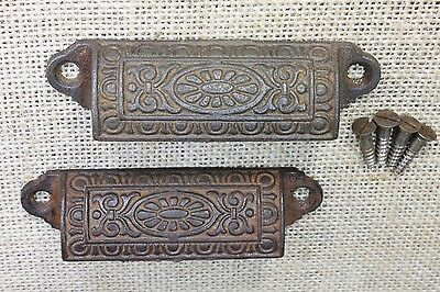 "2 old Bin Drawer Pull cup handle egg & dart daisy 3 3/4"" cast iron vintage"